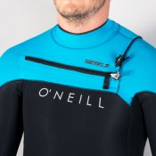 O'Neill Mens 2mm Hyperfreak Shorty (Blk/Sky/Lunar) Wetsuit
